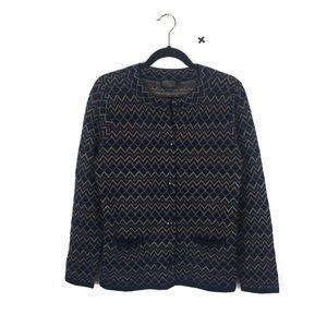 Pendleton Blue Wool Metallic Zig Zag Boho Cardigan
